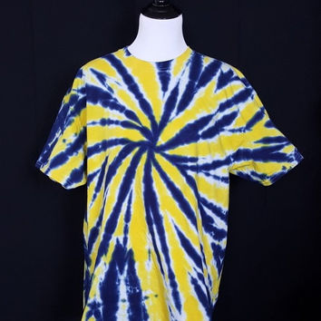 "Tie Dye Shirt ""Blue and Gold Maize"" (Hand Dyed) 