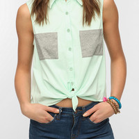 Urban Outfitters - Sparkle & Fade Colorblock Tie-Front Top