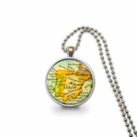 Spain Europe Map Pendant Charm Necklace, Map Necklace, Map Jewelry