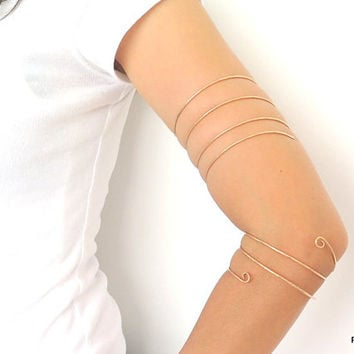 Bronze arm band, hammered bronze upper arm cuff, triple wrap tribal armlet, gift under 30