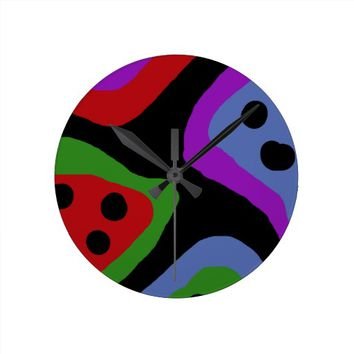 Wild Colorful Spotted Watermelon Slices Pattern Round Wallclock