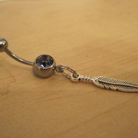 Belly Button Ring - Body Jewelry - Feather with Lt. Purple Gem Stone Belly Button Ring