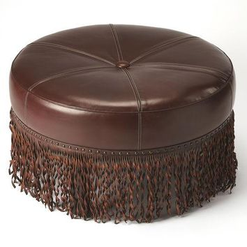 Butler Alina Brown Leather Round Cocktail Ottoman