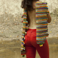 Original look with colourful red, green, yellow, blue, orange handmade knitted woollen scarf