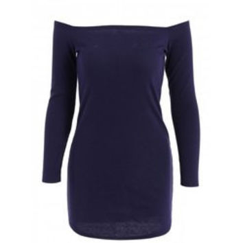 Stylish Off-The-Shoulder Solid Color Knitted Long Sleeve Dress For Women