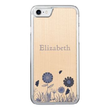Blue summer meadow carved iPhone 7 case