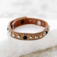 Stud + Stone Leather Bracelet- Brown One