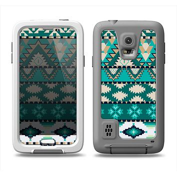The Vector Teal & Green Aztec Pattern  Samsung Galaxy S5 LifeProof Fre Case Skin Set