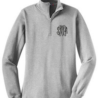 Monogrammed Athletic Heather Gray Pullover Sweatshirt