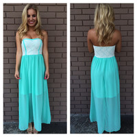 Mint Zarra Strapless Lace Maxi Dress