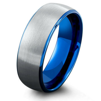 Mens Ocean Blue Brushed Tungsten Wedding Band