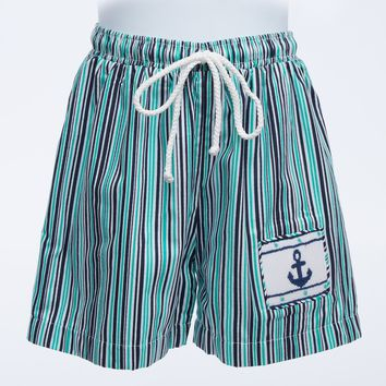 Super Cool Boys Lined Shorts with Anchor Smocked Pocket and Rope Tie Waist