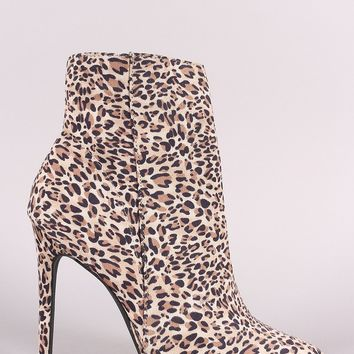 Qupid Leopard Suede Pointy Toe Beaded Trim Stiletto Booties