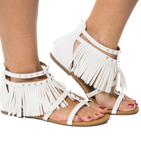 Let's Be Fringe- White Sandal