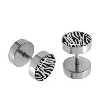 BodyJ4You Fake Plugs Leopard Weed Pot Leaf  Stainless Steel Gauges 16G Cheater Jewelry