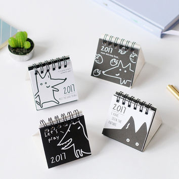6*6.5cm Cute cartoon mini calendar desktop calendar paper calendar 2017 children gifts kawaii
