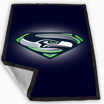 Seattle Seahawks Superman Blanket for Kids Blanket, Fleece Blanket Cute and Awesome Blanket for your bedding, Blanket fleece *