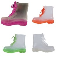 French Kiss Tiffany Lace Up Clear Jelly Rain Boots | shoes heels high heel shoes trendy shoes stilettos