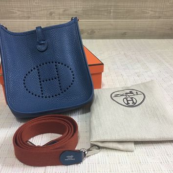 Auth HERMES Mini Evelyne 16 TPM Togo Blue Agate Shoulder Bag