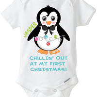 My First 1st Christmas Baby Boy Onesuit Shirt 2014 - Personalized with name Penguin with Holiday Lights Chillin' out at my first Christmas!