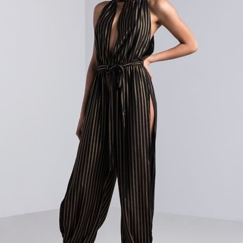 AKIRA Halter Neck Open Leg Striped Jumpsuit in Gold Black