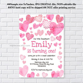 sweetheart invitaiton,  Valentine  girl 1st birthday, one, 2nd, 3rd , 4th, 5th birthday, any age, 16th, 18th 50th 60th 70th  - card 1252