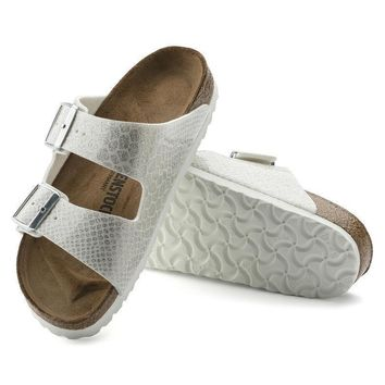 Sale Birkenstock Arizona Birko Flor Magic Snake White 1009126 Sandals