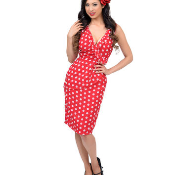 1940s Style Red & White Polka Dot Lovely Faux Wrap Dress