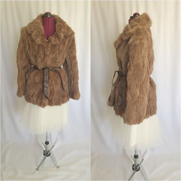 Vintage 1970s Chestnut Brown Rabbit Fur Coat // Jacket // Authentic Rabbit Fur