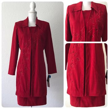 STUDIO I Women's 2Pc Red Embroidered Moleskin Dress Suit NEW WITH TAGS Size 10 Petite