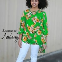Green and Mustard Floral Print Keyhole Tunic with High Low Hem