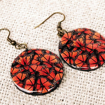 Monarch butterfly earrings,  Butterfly earrings, Butterfly jewelry, Red earrings, Insect, Bug, Butterflies, Wing, Monarch, Wing earrings
