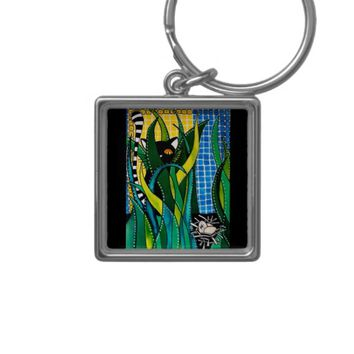 Hunter in Camouflage - Funny Cat Art Keychain