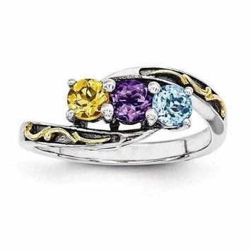 925 Sterling Silver Mother's Personalized Birthstone Ring W/ 14k Three Stones Antique Finish