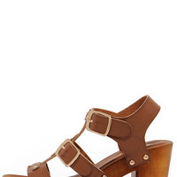 Enclosing Time Chestnut Brown High Heel Caged Sandals