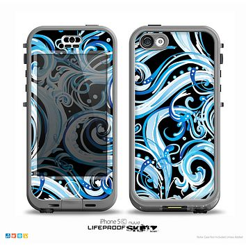 The Wild Blue Swirly Vector Water Pattern on Black Skin for the iPhone 5c nüüd LifeProof Case
