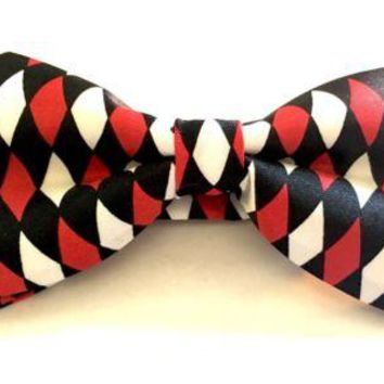 Mod Provisions Red, White & Black Diamond Shape Men's & Boys Adjustable Bow-Tie