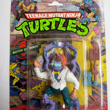 Vintage 1989 Teenage Mutant Ninja Turtle Baxter Stockman Action Figure TMNT 4 Inch New in Package Mirage Studios Playmates Canada SEALED