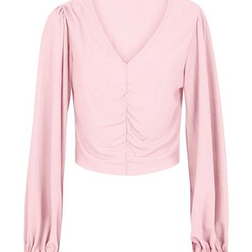 Cameo Rose Pink Ruched Plisse Crop Top | New Look