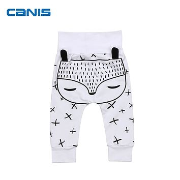 2017 Newest Cute Baby Kids Boys Girls 3D Fox Pattern Harem Pants Toddler Trousers Leggings 0-2T Cotton Casual Soft Costume Hot
