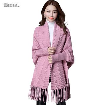 2017 Autumn Female Poncho Women Plus Size Loose Tassel Knitted Open Stitch Cardigans Batwing Sleeve Long Sweater Outerwear OK878