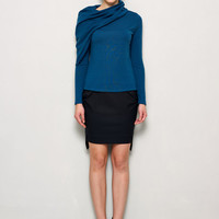 Cowl Neck Sweater with Asymmetrical Detail & Two Style - Blue Sweater - Wool Sweater - Cowl Neck - Asymmetrical Sweater
