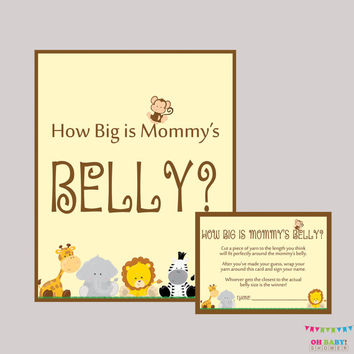 How Big Is Mommy's Belly Game - Printable Safari Baby Shower Belly Guessing Game Guess Belly Size - Instant Download - BS0001-N