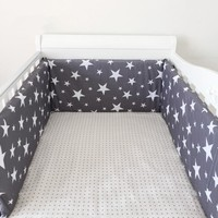 1PCS Baby Crib Cotton Bumpers In the Crib For Newborn Cotton Linen Cot Bumper Baby Bed Protector Grey Stars Print Kids Bedding