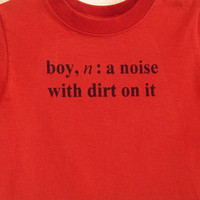 Size 4-5 Red Boy Definition Screenprinted Children's T-shirt Black Ink