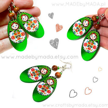 Matryoshka Russian doll Earrings With polish folk by MADEbyMADA