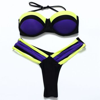 DCCKVQ8 Fashion Multicolor Triangle T Underpant Straps Bikini Set Two-Piece Push-Up Swimwear