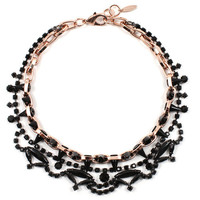Black Out Crystal & Spikes Necklace - Rose Gold/Black