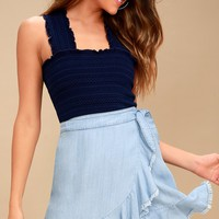 Jenelle Blue Chambray Wrap Skirt