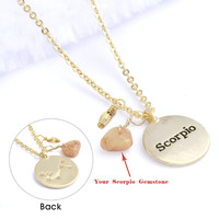 Scorpio Necklace (Zodiac Horoscope Astrology Genuine 20 kt Gold Plated Brass Jewelry BN220-G)